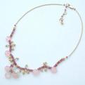 Pink Chalcedony & Vermeille Necklace